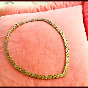 Gold over silver necklace